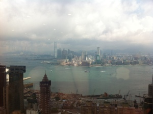 A view of Kowloon from the window of one of Paul's architects. The building disappearing into the clouds is the ICC building, his next door neighbour.