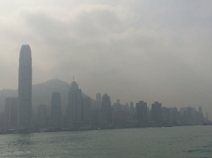 Views of both sides of Victoria Harbour last week. Yuck.