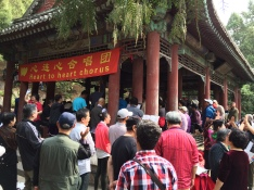 There is a band shell at the Summer Palace where seniors gather to sing folk and civic songs, guided by a conductor and accompanied by a small ensemble.