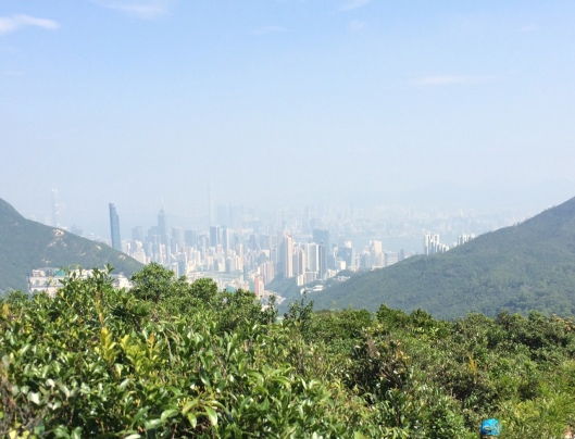 The view today from Violet Hill at Tai Tam Country Park. You can barely see Central on the island, let alone Howloon.