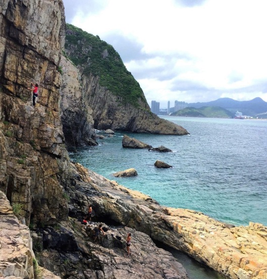 I'm the little girl in red halfway up the cliff!