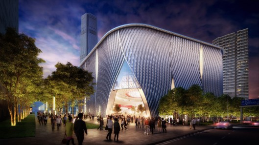 Rendering of the exterior of the WKCDA Xiqu Centre*